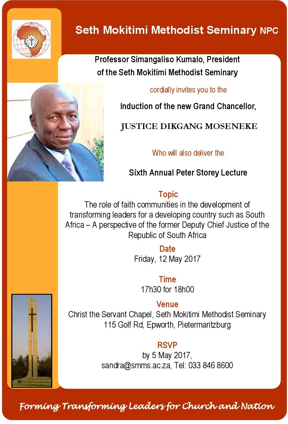 INVITATION TO INDUCTION OF JUSTICE DIKGANG MOSENEKE AS NEW GRAND CHANCELLOR AND ANNUAL PETER STOREY LECTURE
